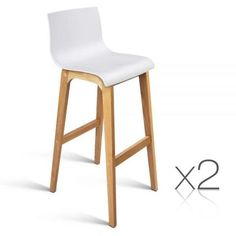 Oak Wood Bar Stools w/ High Seat Back Wooden Chair Kitchen Dining White 3608