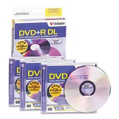 Verbatim® - Dual-Layer DVD+R Discs, 8.5GB, 2.4x, w/Jewel Cases, 3/Pack, Silver - Sold As 1 Pack - Enormous, double-layer capacity. by Verbatim. $11.72. Verbatim® - Dual-Layer DVD+R Discs, 8.5GB, 2.4x, w/Jewel Cases, 3/Pack, SilverEnormous, double-layer storage capacity accommodates longer programming, such as sporting events, weddings, and more. Ideal for archiving home movies and other precious memories. Use for backing up important business documents or any other capa...