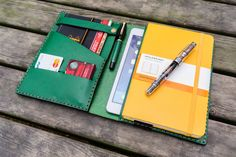 Leather Hobonichi Planner Cover - Green