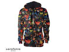 hoodie women Colorful jungle colorful hoodies hoody modern art all sizes vintage festival clothing gift men women Cacofonia hoodies women