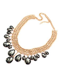 Black Drop Rhinestone Multi-row Collar Necklace Ac0020141-3