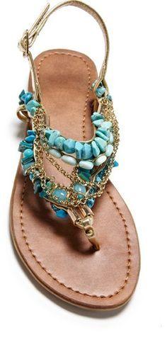 Blue, embellished sandals