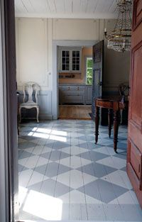 not sure how well they would wear, but do like painted floors. Swedish Cottage, Swedish Decor, Swedish Style, Painted Wood Floors, Wooden Flooring, Country Interior, Scandinavian Interior, Decoration Entree, Checkered Floors