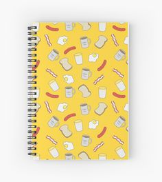 Breakfast Time.  #pattern #spiral #notebook #note #redbubble #linecircle #linecircleApparel #LinecircleStationary  #breakfast #coffee #mug #milk #egg