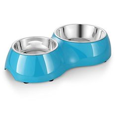 Flexzion Dog Cat Feeder Bowl Diner Feeding Station Tray with Stand Animal Pet Food Holder - Stainless Steel Dual Double Diner Dish (Blue)