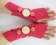 arm warmers fingerless mittens arm cuffs fingerless gloves deep salmon honeysuckle pinkrecycled wool eco friendly curationnation therougett. $25.00, via Etsy.