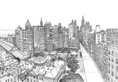 New York City Hall – von Abigail Daker. – New York City Boutique San Francisco, Cityscape Drawing, City Drawing, Twenty One Pilots Meme, New York City Hall, City Sketch, Urban Sketchers, Beautiful Drawings, Aerial View