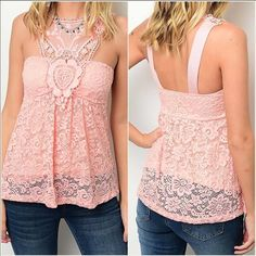 "SLEEVELESS BABY PINK CROCHET LACE TOP  MADE IN USA - this stunning sleeveless crochet lace top is a gorgeous soft pink color with light padding in the bust so you don't have to wear with a bra or can wear with a strapless if you would like. Has a soft lining with a lace overlay so it is not see through. Fits true to size. S(2-4) M(6-8) L(10-12) apprx length is 25""-26"" Made of 68% nylon, 27% poly, 5% spandex. Price is firm unless bundled. You may purchase this listing as I've created…"