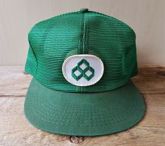 d498cd8230386 Vintage 80s Crop Farmer Green Full Mesh Trucker Hat K Brand Snapback Cap  Patch  KBrand