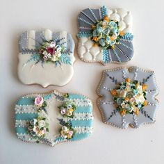 The Bakery Shoppe. Fancy Cookies, Vintage Cookies, Iced Cookies, Cute Cookies, Cupcake Cookies, Sugar Cookies, Cookie Frosting, Royal Icing Cookies, Iced Biscuits