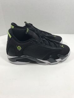 fff7eb2be530ea 2016 Nike Air Jordan 14 Retro indiglo Og Gs SZ 4.5Y Black Vivid Green 487524