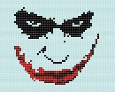 "The Joker rendered in tiles. This is created from ""Smile you Clown"" [link] by Carrie [link] Tiled Joker Crochet Stitches Patterns, Perler Patterns, Quilt Patterns, Beaded Cross Stitch, Cross Stitch Embroidery, Joker, Cross Stitch Designs, Cross Stitch Patterns, Easy Pixel Art"