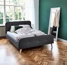 Choose from a selection of quality wooden bed frames. Shop online for affordable Scandinavian furniture. Scandinavian Bedding, Scandinavian Living, Ikea, Apartment Makeover, Bedroom Accessories, Bedroom Bed, Bed Frame, Home And Living, Bedrooms