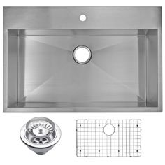 Drop-In Stainless Steel 33 in. 1 Hole Single Basin Kitchen Sink with Strainer and Grid in Satin