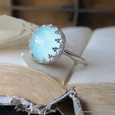 Statement Ring Blue Chalcedony Cabochon Crown Cocktail Ring in Sterling Silver by jorgensenstudio on Etsy https://www.etsy.com/listing/195548220/statement-ring-blue-chalcedony-cabochon