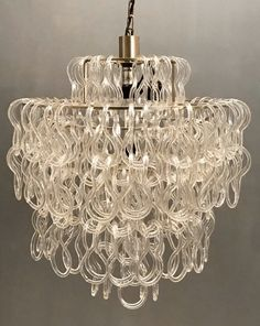 We love this playful timeless midcentury classic chandelier! ❤️ #theenglishsisters #etsy shop: Large Giogali Vistosi Murano Hook Chandelier, Vistosi Midcentury Design Ceiling Lamp   Etsy   Free Shipping USA, Wiring Comp USA #lighting #midcentury #giogalivistosilamp #midcenturylighting #vintagechandelier #midcenturyhooklamp