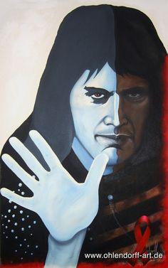 """Freddie Mercury (Queen, Sänger.) * 05.09.1946 – † 24.11.1991 Öl auf Leinwand (1997) 130 cm x 80 cm Kaum ein Künstler vor ihm und nach ihm hat die Bühne so extrovertiert beherrscht wie """"die Queen"""" Freddie Mercury… http://blog.powervoice.de/music-monday-freddie-mercury-sein-leben-mit-queen-und-sein-tod-durch-die-krankheit-aids/"""