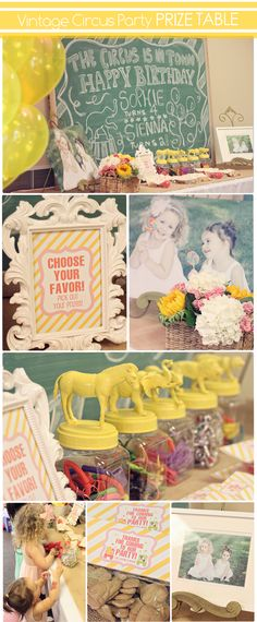 Vintage Circus.  Love the prize bottles.  Animals glued on lids and sprayed yellow... too cute