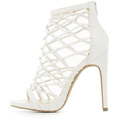 Charlotte Russe Knotted Caged Dress Sandals (100 ILS) ❤ liked on Polyvore featuring shoes, sandals, white, high heel stilettos, white heeled sandals, white stiletto sandals, caged heel sandals and charlotte russe sandals