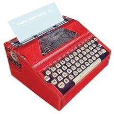 Just the type of thing to thrill analog-obsessed note-takers, this box of notepaper mimics the shape of a real typewriter in petite proportions ideal for desktop display. Perforated sheets for notes—with watermarks just like vintage typewriter paper—pull out of the box top