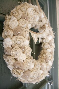 I'm pretty particular about wreaths... but this one is very pretty! burlap, lace and tulle wreath.