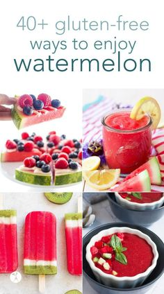 Beat the heat and nourish your body with these delicious gluten-free watermelon recipes! Over 40 fun and tasty ways to enjoy everyone's favorite summer fruit. #watermelon #glutenfree #refinedsugarfree #drinks #popsicles #gazpacho #salad #roundup #recipes #summer #fruit Arugula Watermelon Feta Salad, Primal Recipes, Real Food Recipes, Cooking Recipes, Free Recipes, Gf Recipes, Family Recipes, Vegetarian Recipes, Gluten Free Snacks