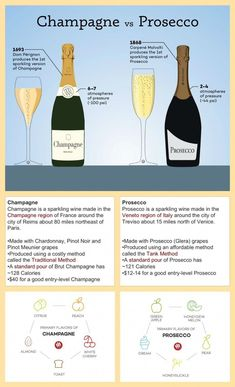 Q: What are the real differences between Champagne vs. Prosecco and why does one cost so much more than the other? The quick answer is Champagne is. Guide Vin, Wine Guide, Wine Cocktails, Cocktail Drinks, Champagne Drinks, Prosecco Vs Champagne, Cupcake Prosecco, Champagne Glasses, Alcohol Drink Recipes