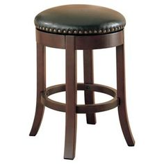 Coaster Furniture Casual walnut counter-height bar stool This bar stool features a smooth Leather Counter Stools, Swivel Counter Stools, Counter Height Bar Stools, Wooden Counter, 24 Bar Stools, Wooden Stools, Bar Counter, Coaster Furniture, Bar Furniture