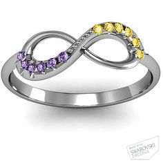 Infinity Accent Ring with his/her birthstones- also can engrave wedding date in the band- great idea!