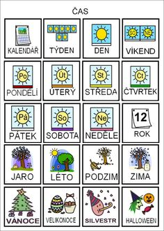 ČAS- TÝDEN, ROČNÍ OBDOBÍ Teaching Posts, Teaching Tips, Autism Activities, Activities For Kids, Weather For Kids, Preschool Themes, Pictogram, Foreign Languages, First Day Of School
