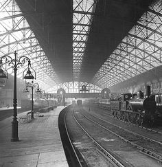 1880s: the London and North Western Railway station in Birmingham, England.