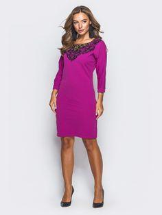 d6c21cf6317 Яркое женское платье с кружевом цвета фуксии р.42