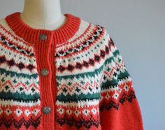 Vintage Dale of Norway Cardigan / 70s Hand Knit by zestvintage