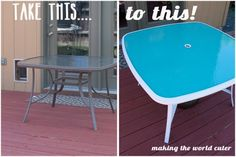 Glass Patio Table Makeover from Making the World Cuter - i think i would use a different color but great idea