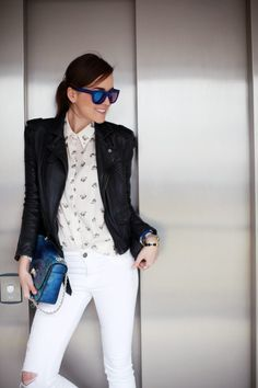 Leather jacket, printed button down and white skinnies and blue snakeskin bag