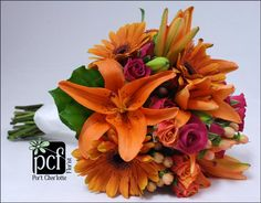 Hot Pink Spray Roses, Orange Gerbers, Orange Asiatic Lilies, Hypericum Berries
