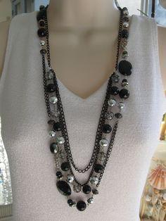 Lungo nero con perline collana grosso nero collana di