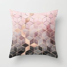 Pink and grey gradient cubes throw pillow - rose gold cushion on Society6