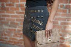 Gentlefawn Grey Front Zipper Studded Rocky Skirt