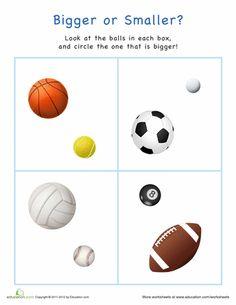 Worksheets: Bigger or Smaller? Sports Balls