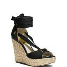 "Michael Kors Canvas and Leather Wedges Chic 4.5"" wedge with Vanchetta leather trim will turn heads. Michael Kors Shoes"