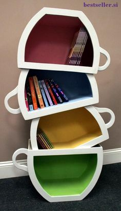 Wood bookshelves by Scott Blackwell. Very cool bookshelves for kids rooms.Seuss bookshelf, stacked Teacups bookcase, dragon themed bookshelf and many other awesome childrens bookshelves! Coffee Cups, Tea Cups, Coffee Barista, Coffee Plant, Coffee Menu, Coffee Creamer, Drink Coffee, Starbucks Coffee, Iced Coffee
