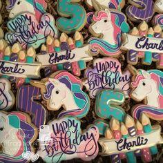 Unicorn birthday cookies #pink #purple #aqua Purple Birthday, 8th Birthday, Unicorn Birthday, Purple Unicorn, Pink Purple, Aqua, Unicorn Cookies, Birthday Cookies, Cookie Decorating