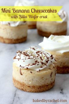 Mini Banana Cheesecakes with Nilla Wafer Crust Recipe. (Use A Sweet Pea Chef's Homemade Nilla Wafer recipe! Mini Desserts, Just Desserts, Delicious Desserts, Dessert Recipes, Southern Desserts, Dessert Healthy, Lemon Desserts, Doce Banana, Banana Cheesecake