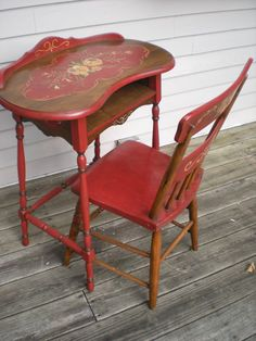 telephone table and chair by BavarianDecor on Etsy, $265.00