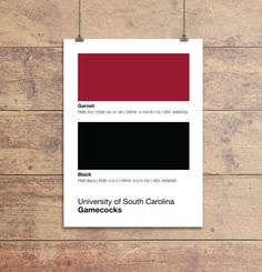 South Carolina Gamecocks Pantone Poster - USC Game Cocks - Print, Boyfriend Gift, Fathers Day Gift - College Student Gift