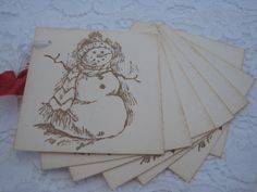 Old-Fashioned Snowman   ... to Handmade Vintage Style Gift Tag - Old Fashioned Snowman on Etsy