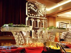 This #fooddisplay was made for a vendors appreciation night held at Dakota Dunes Casino     Check out more ice sculptures at fireandicecreations.ca