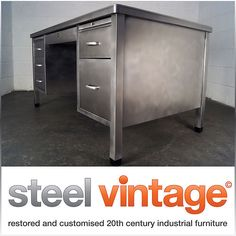 stripped & polished vintage steel office desk metal retro