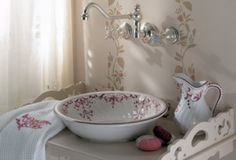 Fountains of Versailles inspired the gently flowing lines of this graceful vessel sink.